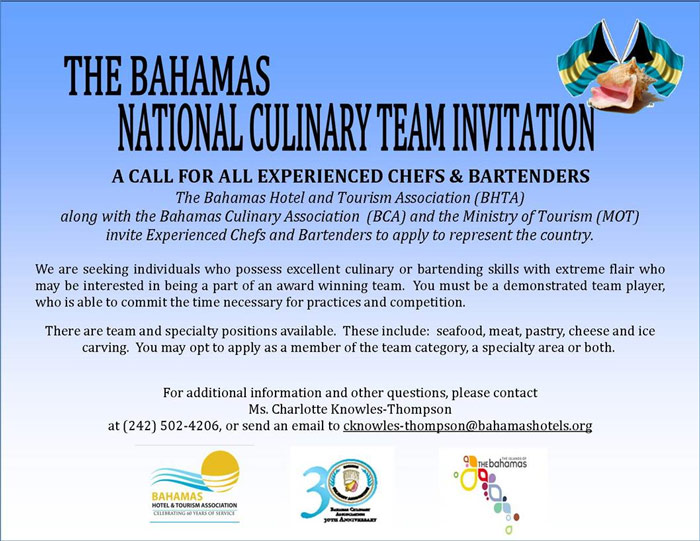 Bahamas National Culinary Team Invitation